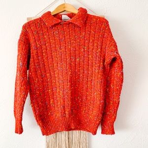 Vintage One Step Up Speckled Collared Sweater